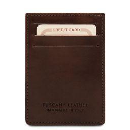 Elegante porta tarjetas de credito en piel Marrón oscuro TL140806