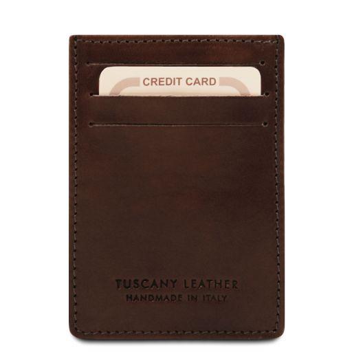Elégant porte cartes de credit en cuir Marron foncé TL140806