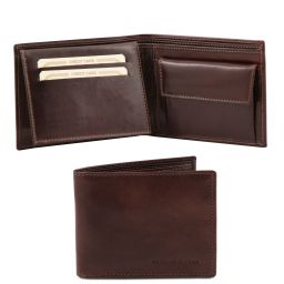 Exclusive 3 fold leather wallet for men with coin pocket Dark Brown TL140763