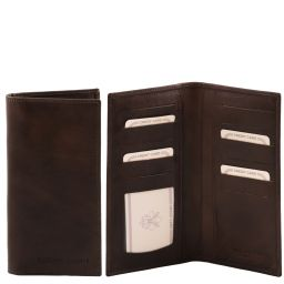 Exclusive vertical 2 fold leather wallet Dark Brown TL140784