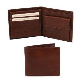 Эксклюзивный кожаный бумажник тройного сложения для мужчин Коричневый TL141377