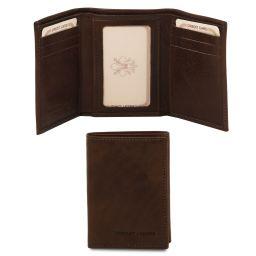 Elegante cartera de señor en piel Marrón oscuro TL140801