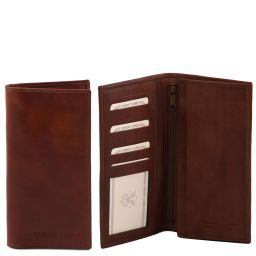 Exclusive vertical 2 fold leather wallet for men Brown TL140777