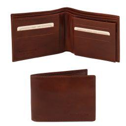 Esclusivo portafoglio uomo in pelle 3 ante Marrone TL140817