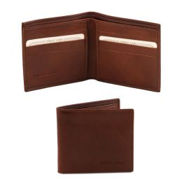 Exclusive 2 fold leather wallet for men Brown TL140797