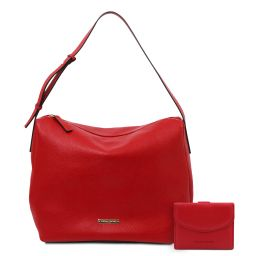 Ischia Soft leather hobo bag and 3 fold leather wallet with coin pocket Lipstick Red TL142149