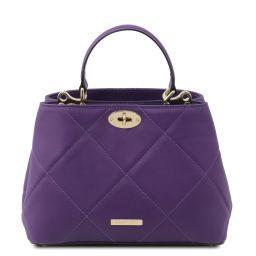TL Bag Soft quilted leather handbag Purple TL142132