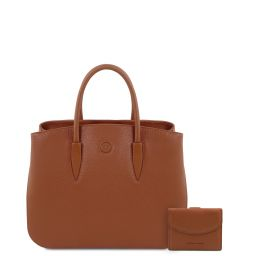 Procida Leather handbag and 3 fold leather wallet with coin pocket Cognac TL142151
