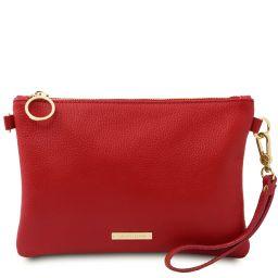 TL Bag Clutch aus weichem Leder Lipstick Rot TL142029