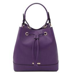 Minerva Leather bucket bag Purple TL142145