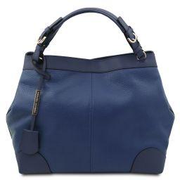 Ambrosia Soft leather shopping bag with shoulder strap Dark Blue TL142143