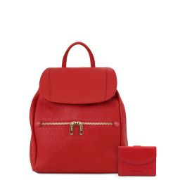 Elba Soft leather backpack for women and 3 fold leather wallet with coin pocket Lipstick Red TL142153