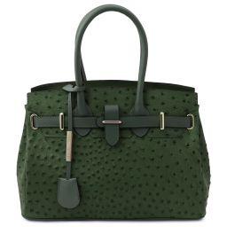 TL Bag Handbag in ostrich-print leather Forest Green TL142120