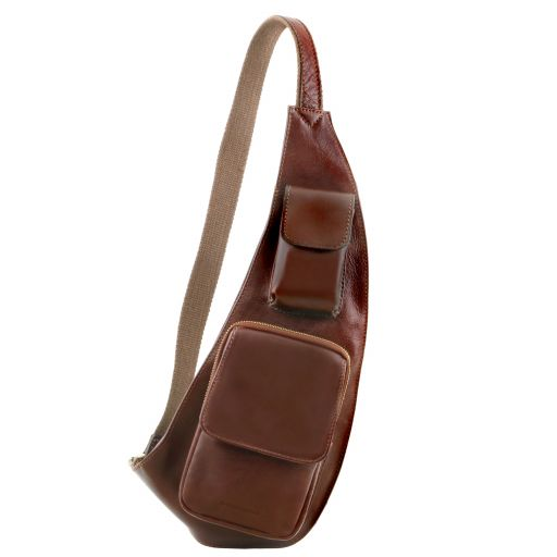Leather crossover bag Brown TL141352