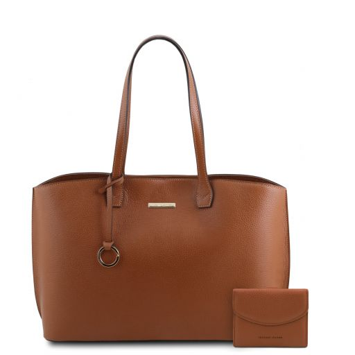 Pantelleria Leather shopping bag and 3 fold leather wallet with coin pocket Cognac TL142157