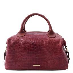 TL Bag Croc print soft leather maxi duffle bag Bordeaux TL142121