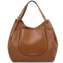 Cinzia Soft leather shopping bag Коньяк TL142144