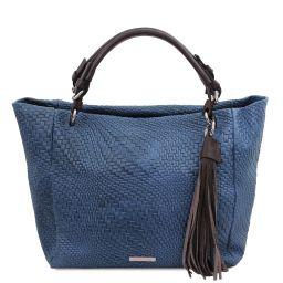 TL Bag Borsa shopping in pelle stampa intrecciata Blu scuro TL142066