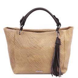 TL Bag Woven printed leather shopping bag Бежевый TL142066