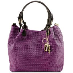 TL KeyLuck Woven printed leather shopping bag Purple TL141573