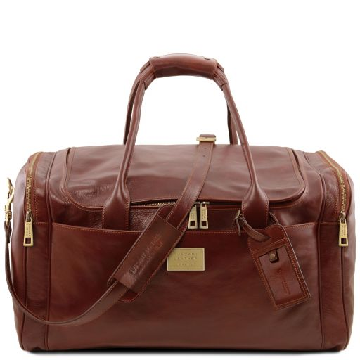 TL Voyager Travel leather bag with side pockets - Large size Brown TL142135