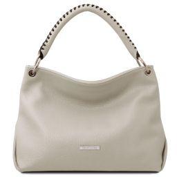 TL Bag Soft leather handbag Light grey TL142087