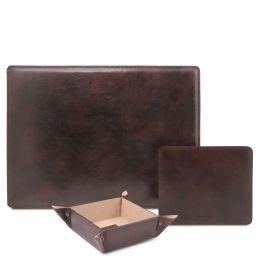Premium Office Set Leather desk pad, mouse pad and valet tray Темно-коричневый TL142088