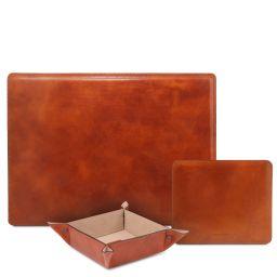 Premium Office Set Sottomano da scrivania, tappetino per mouse e vuotatasche in pelle Miele TL142088