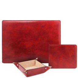 Premium Office Set Sottomano da scrivania, tappetino per mouse e vuotatasche in pelle Rosso TL142088
