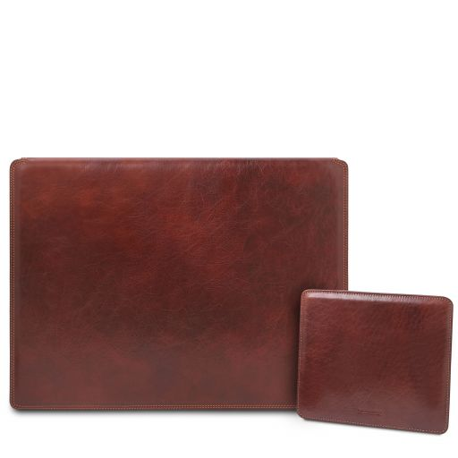Office Set Leather desk pad with inner compartment and mouse pad Brown TL142161