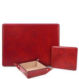 Premium Office Set Schreibtischunterlage mit Klappe, Mauspad und Schale aus Leder Rot TL142162