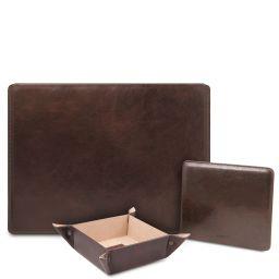 Premium Office Set Sottomano da scrivania con ribalta, tappetino per mouse e vuotatasche in pelle Testa di Moro TL142162