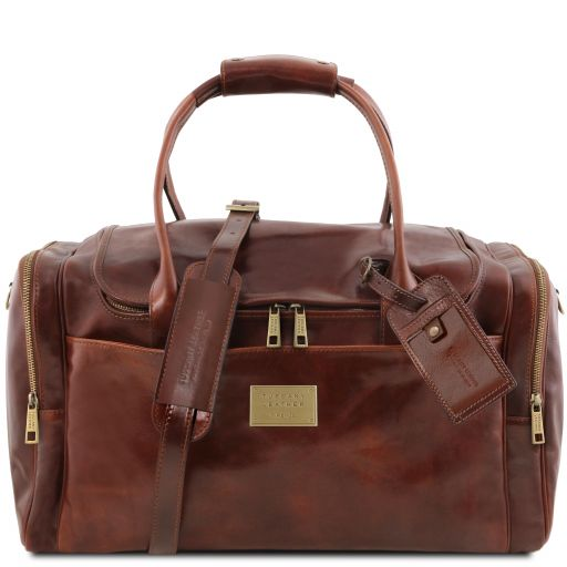TL Voyager Travel leather bag with side pockets Brown TL142141