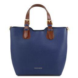 TL Bag Borsa shopping in pelle Saffiano Blu scuro TL141696