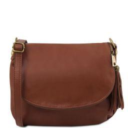 TL Bag Soft leather shoulder bag with tassel detail Cinnamon TL141223