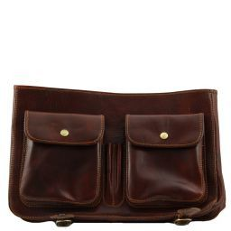 Ancona Кожаная сумка-мессенджер - Большой размер Темно-коричневый TL10025