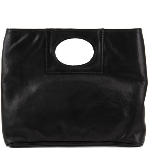 Mary Leather bag with round cut-out handle Black TL140495